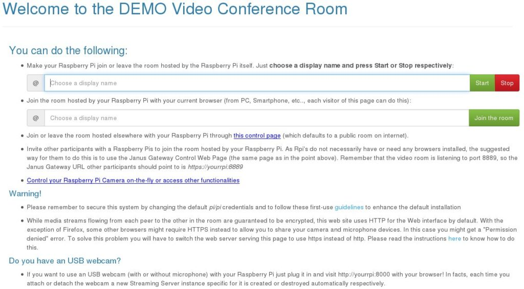 RPi VideoConference Demo OS – (advanced) Projects
